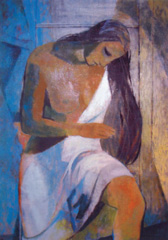 "Bruce Currie, �Woman at her Bath,� 50"" x 34"", oil on canvas"
