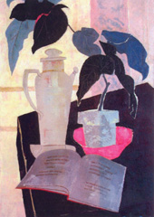 "Bruce Currie, �Still Life with Pink Dish,� 28"" x 20"", oil on canvas"