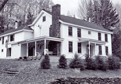 The farmhouse built by Abraham Gould, Jay�s grandfather, in 1789. Here Jay Gould was born in 1836. Only the front portion of the home, located on West Settlement Road, existed in Jay�s time. Photograph by Ed Renehan