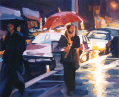 �Lower Broadway, Rainy Night,� gouache by Lisbeth Firmin at Windham Fine Arts